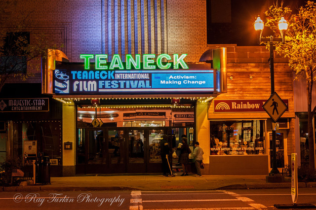Theatre Marquee displaying Teaneck International Film Festival